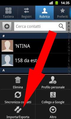 BackUp Rubrica Android Passo 2