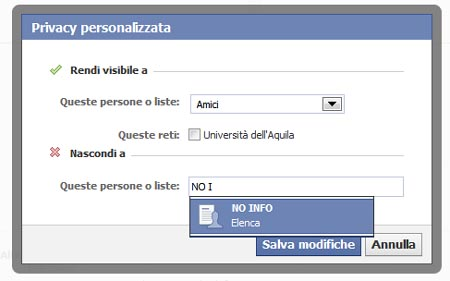 FACEBOOK Privacy Personalizzata