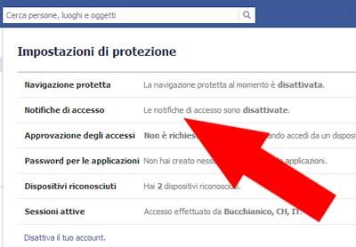 003 Notifiche di accesso - Facebook