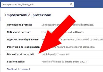 Dispositivi Riconosciuti - Facebook