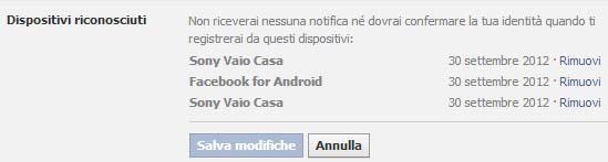 Elenco Dispositivi Riconosciuti - Facebook