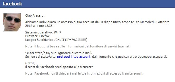 email notifica sconosciuto - Facebook